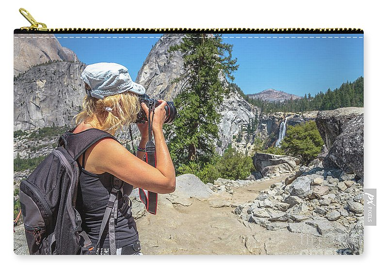 Yosemite Carry-all Pouch featuring the photograph Photographer In Yosemite Waterfalls by Benny Marty
