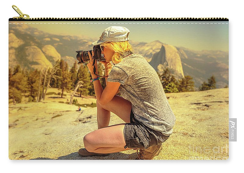 Yosemite Carry-all Pouch featuring the photograph Photographer On Sentinel Dome by Benny Marty