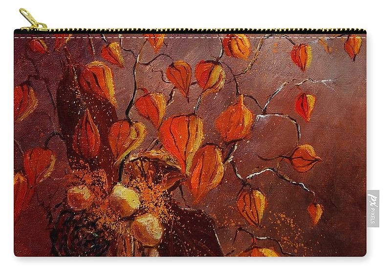 Flowers Carry-all Pouch featuring the painting Physialis by Pol Ledent
