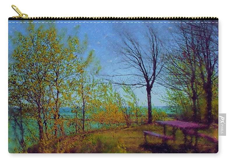 Lake Carry-all Pouch featuring the digital art Picnic Table By The Lake by Anita Burgermeister