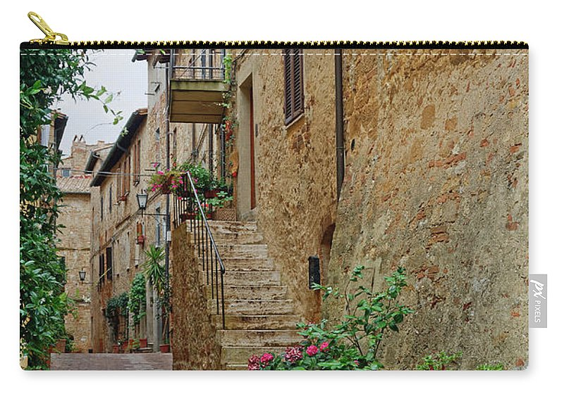 Narrow Pedestrian Street Carry-all Pouch featuring the photograph Pienza Street by Sally Weigand