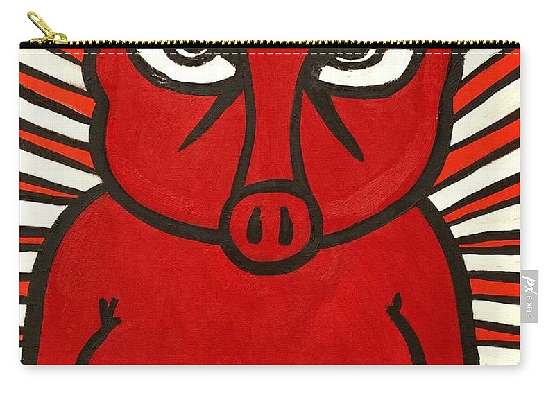 Clay Carry-all Pouch featuring the painting pig by Thomas Valentine