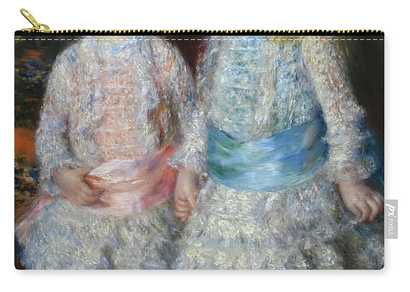 Pink And Blue Carry-all Pouch featuring the painting Pink And Blue by Pierre-Auguste Renoir