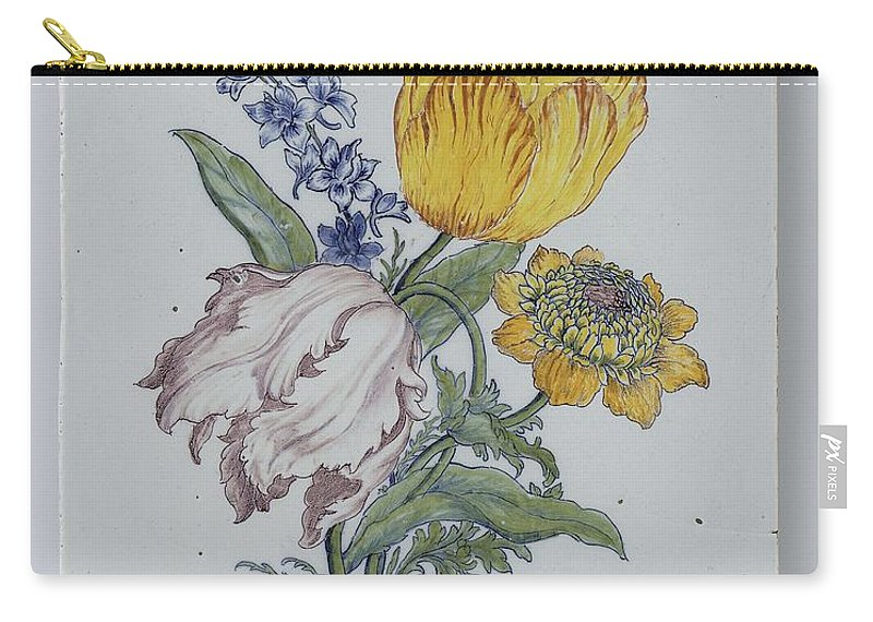 Flower Carry-all Pouch featuring the painting Plate, Anonymous, C. 1750 - C. 1775 by Celestial Images