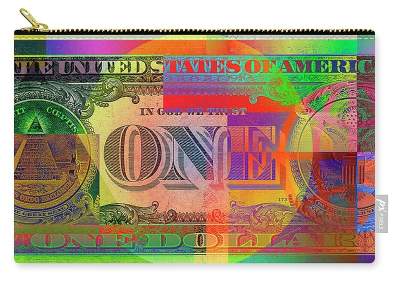 �visual Art Pop� By Serge Averbukh Carry-all Pouch featuring the photograph Pop-Art Colorized One U. S. Dollar Bill Reverse by Serge Averbukh
