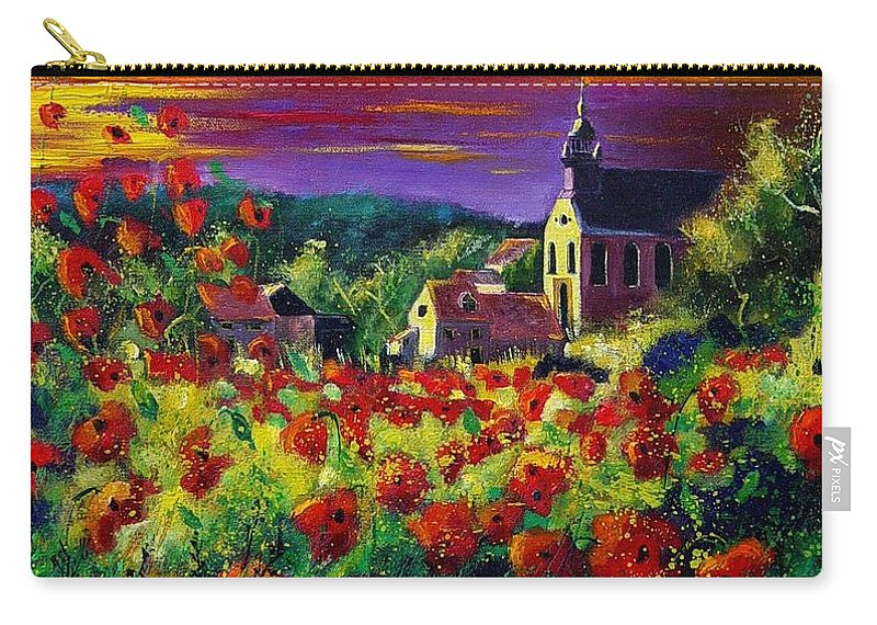 Flowers Carry-all Pouch featuring the painting Poppies In Foy by Pol Ledent