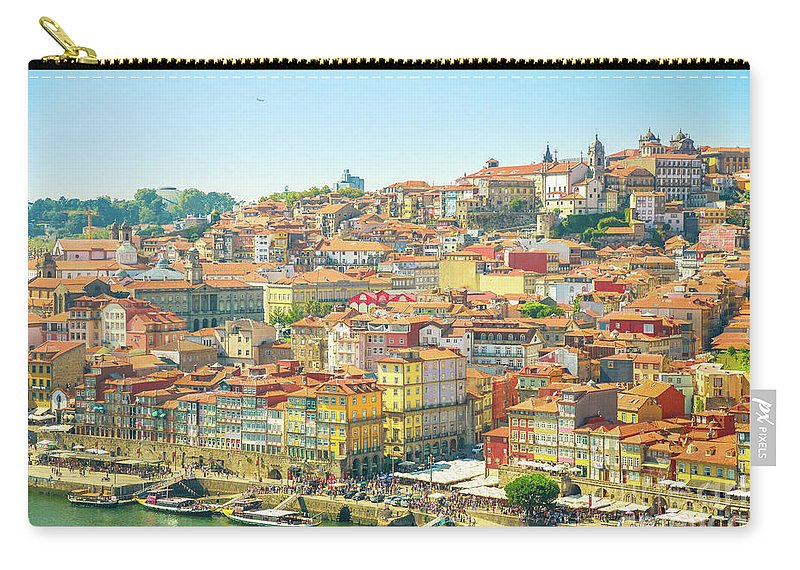 Oporto Carry-all Pouch featuring the photograph Porto Ribeira Waterfront by Benny Marty