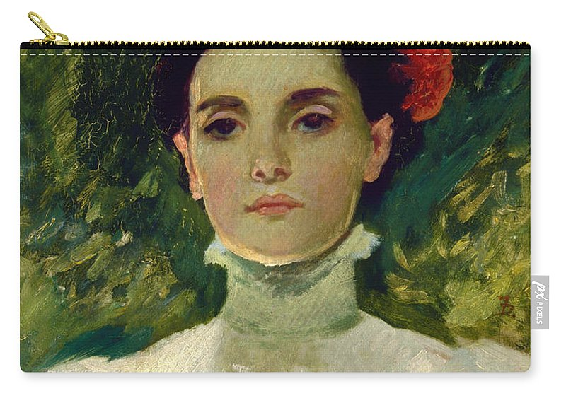 Painting Carry-all Pouch featuring the painting Portrait Of Maggie Wilson by Mountain Dreams