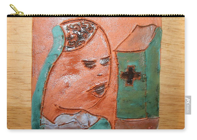 Jesus Carry-all Pouch featuring the ceramic art Prayer 37 - Tile by Gloria Ssali