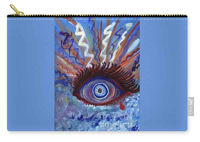 Eye Carry-all Pouch featuring the painting Ptsd by Alanna Sage
