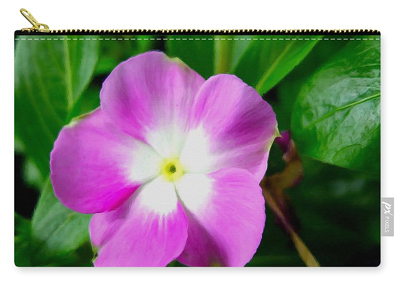 Cpurple Periwinkle Flower Carry-all Pouch featuring the painting Purple Periwinkle Flower 1 by Jeelan Clark