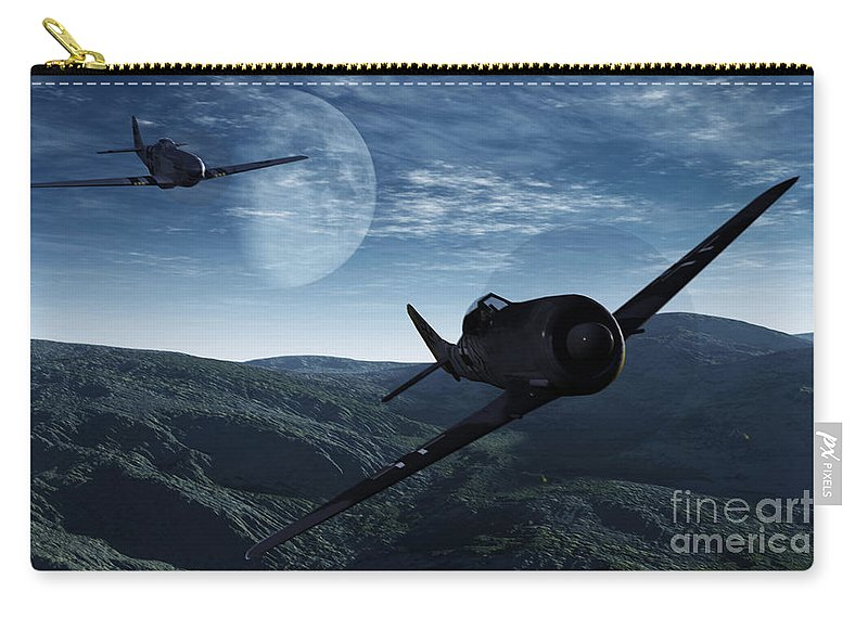 Dogfight Carry-all Pouch featuring the digital art Pursuit Of The Fox by Richard Rizzo