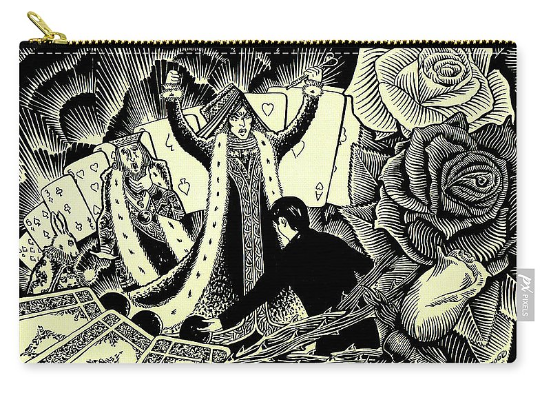 Queen Of Hearts Carry-all Pouch featuring the drawing Queen Of Hearts by Lance Miyamoto