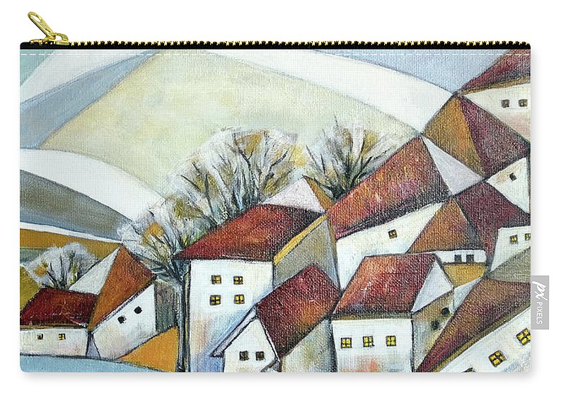 Abstract Carry-all Pouch featuring the painting Quiet Village by Aniko Hencz
