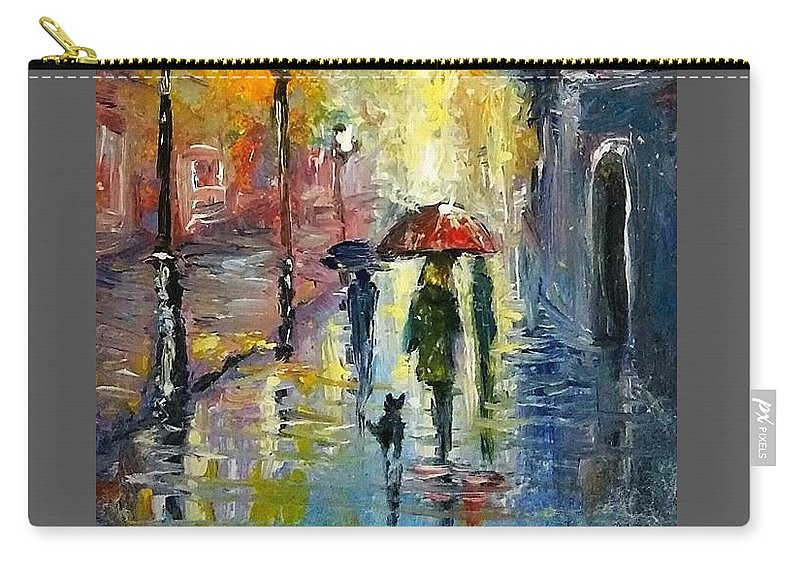 Fall Carry-all Pouch featuring the painting Rain Fantasy aceo painting by Natalja Picugina