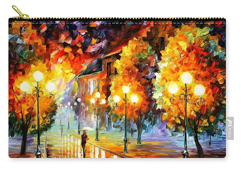 Afremov Carry-all Pouch featuring the painting Rain In The Night City by Leonid Afremov