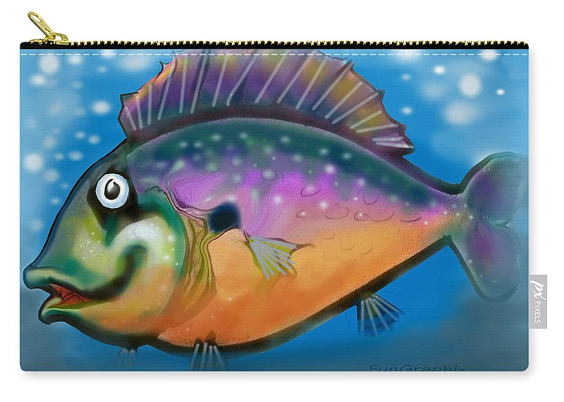Fish Carry-all Pouch featuring the greeting card Rainbow Fish by Kevin Middleton