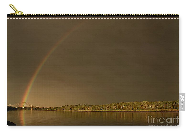 Rainbow Carry-all Pouch featuring the photograph Rainbow Over Sagamore Bridge, Cape Cod by Michelle Himes