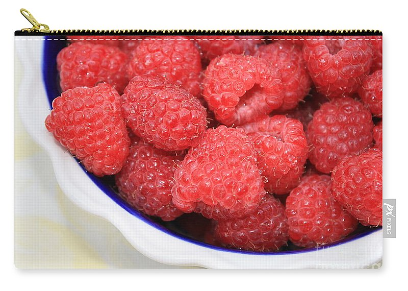 Raspberries Carry-all Pouch featuring the photograph Raspberries In Polish Pottery Bowl by Carol Groenen