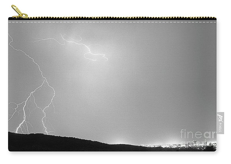 Lightning Carry-all Pouch featuring the photograph Reaching For A Door-signed-78-004 by J L Woody Wooden