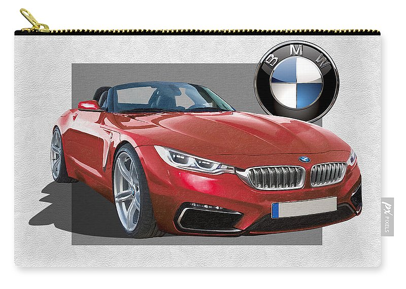 �bmw� Collection By Serge Averbukh Carry-all Pouch featuring the photograph Red 2018 B M W Z 5 with 3 D Badge by Serge Averbukh