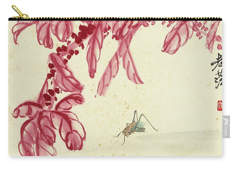 Red Autumnal Leaves Carry-all Pouch featuring the painting Red Autumnal Leaves Insect by Qi Baishi