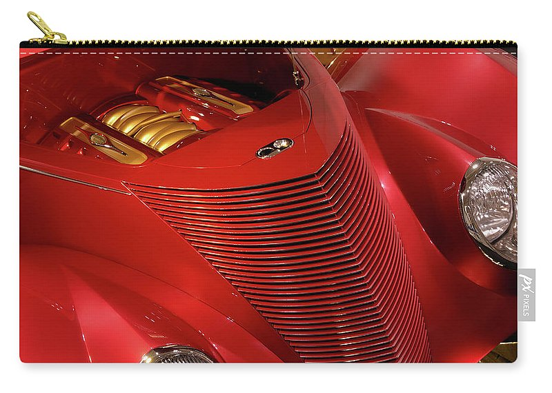 Car Carry-all Pouch featuring the photograph Red Classic Car Details by Maxim Images Prints