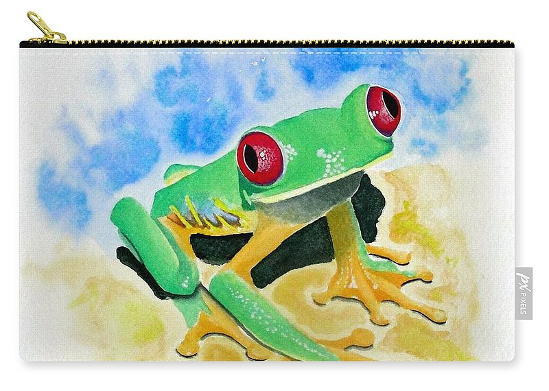 Amphibian Carry-all Pouch featuring the painting Red Eyed Tree Frog by Jimmy Smith