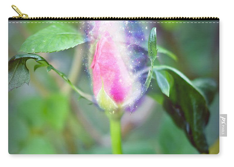 Exploding Carry-all Pouch featuring the photograph Red Garden Rose Bud by Humorous Quotes