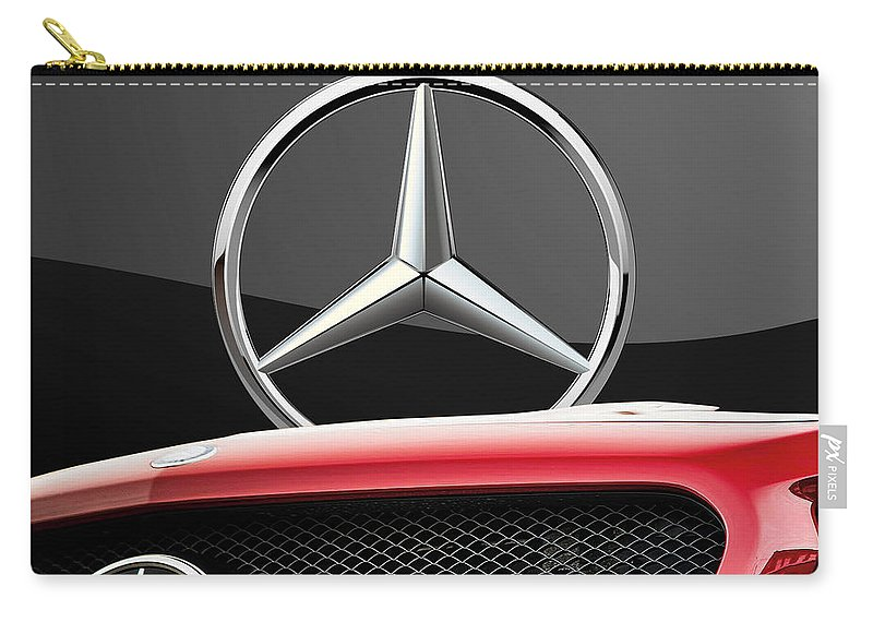 'auto Badges' By Serge Averbukh Carry-all Pouch featuring the photograph Red Mercedes - Front Grill Ornament And 3 D Badge On Black by Serge Averbukh