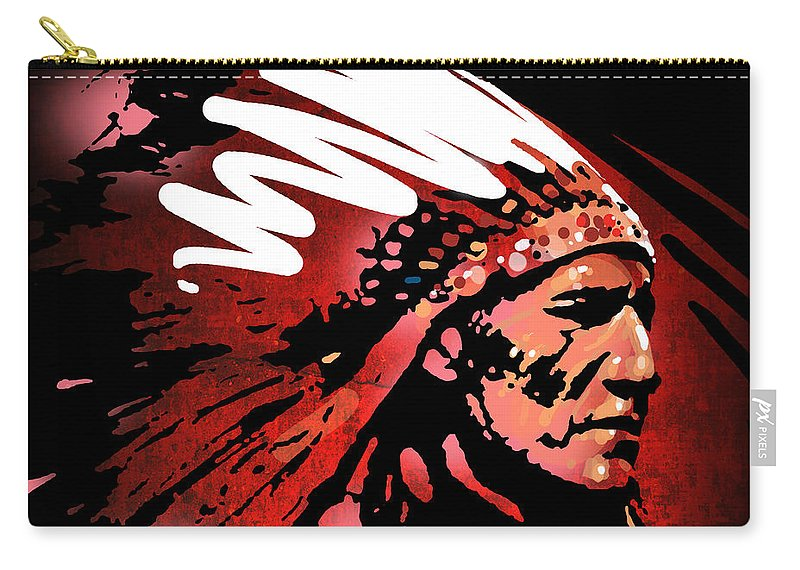 Native American Carry-all Pouch featuring the painting Red Pipe by Paul Sachtleben