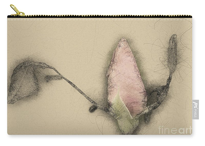 Softness Carry-all Pouch featuring the photograph Red Rose Bud by Humorous Quotes