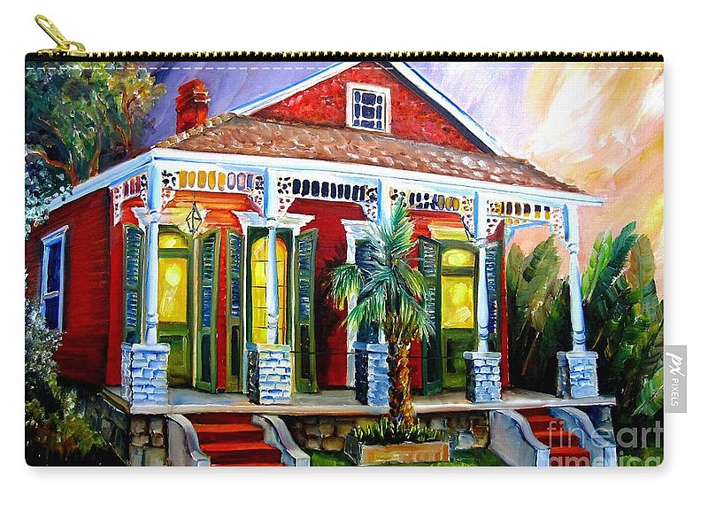 New Orleans Carry-all Pouch featuring the painting Red Shotgun House by Diane Millsap