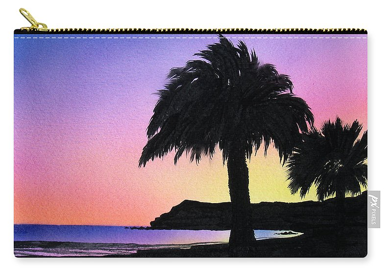 Beach Carry-all Pouch featuring the painting Refugio Point 1 by Angie Hamlin