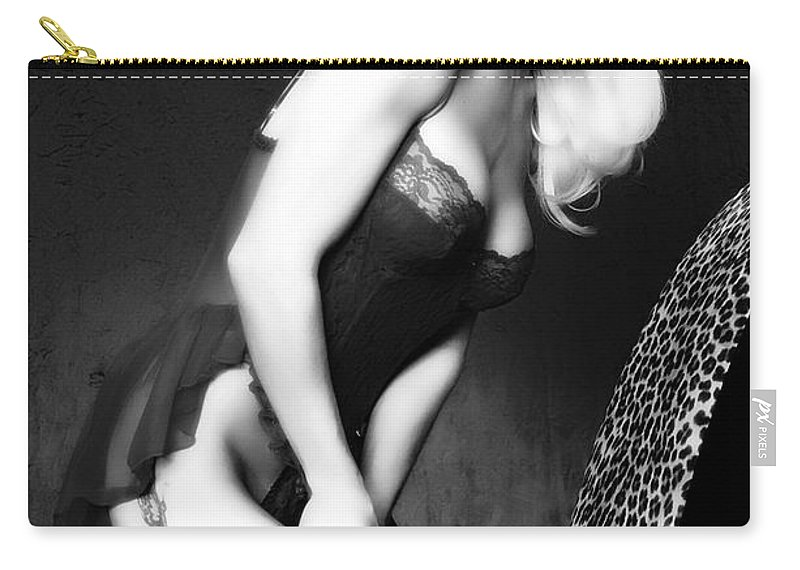 Clay Carry-all Pouch featuring the pyrography Retro Pinup by Clayton Bruster