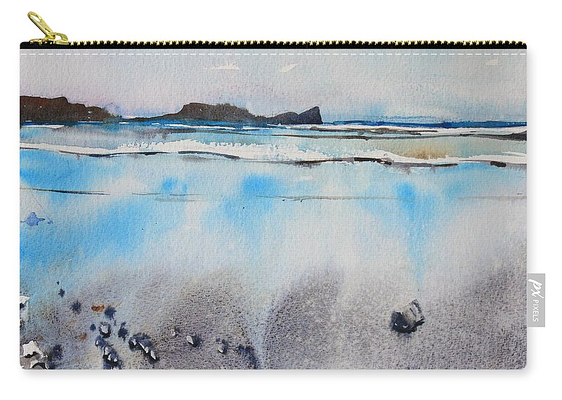 Rhossili Bay Carry-all Pouch featuring the painting Rhossili Bay, Wales by Ibolya Taligas