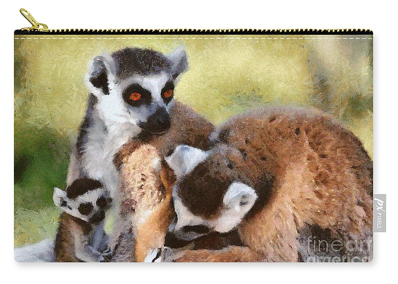 Ring Tailed Lemur Carry-all Pouch featuring the painting Ring Tailed Lemurs Family by George Atsametakis