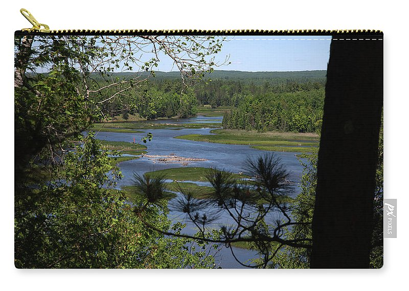 Au Sable River Carry-all Pouch featuring the photograph River And Trees by Linda Kerkau