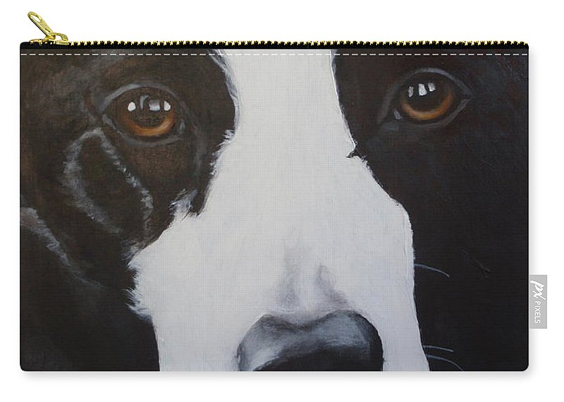 Border Collie Carry-all Pouch featuring the painting River by Carol Russell