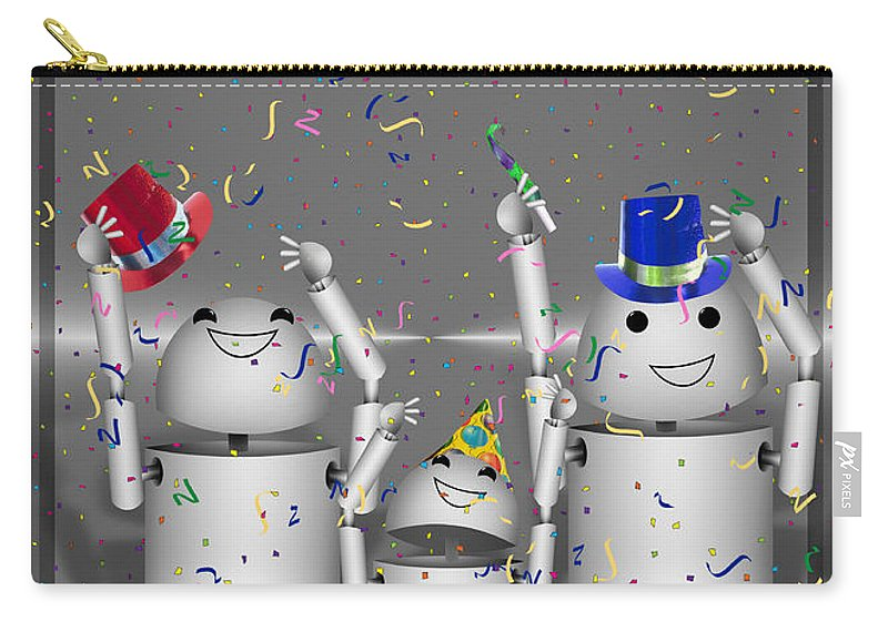 Gravityx9 Carry-all Pouch featuring the mixed media Robo-x9 New Years Celebration by Gravityx9 Designs