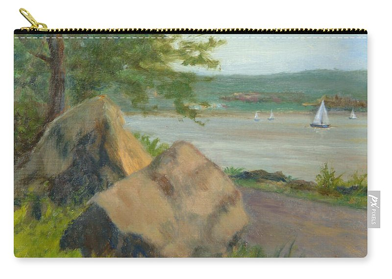Oil Landscape Carry-all Pouch featuring the painting Rocks Along The Nyack Trail by Phyllis Tarlow
