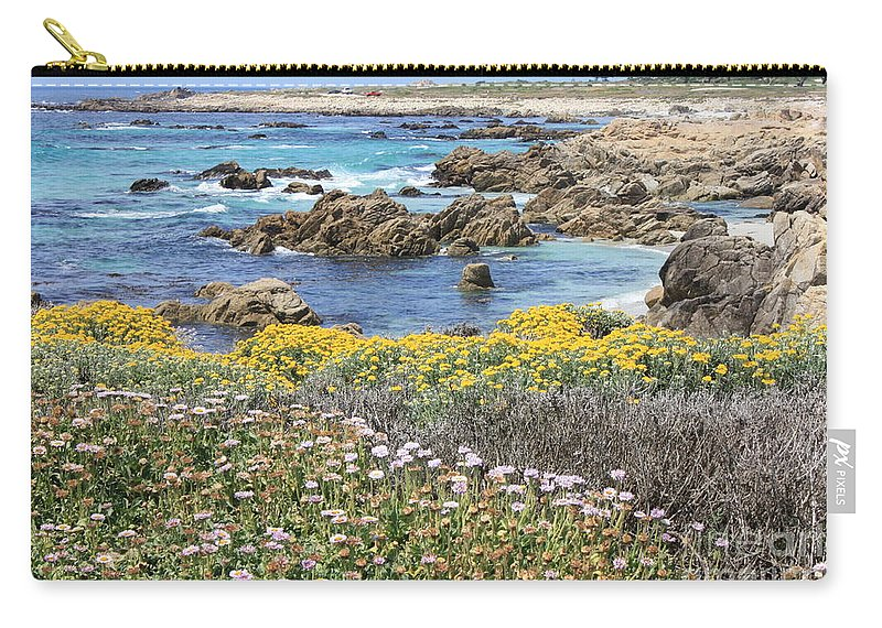 California Carry-all Pouch featuring the photograph Rocky Surf With Wildflowers by Carol Groenen