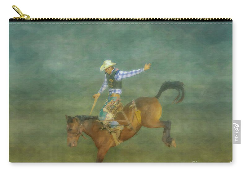 Rodeo Bronco Busting Two Carry-all Pouch featuring the digital art Rodeo Bronco Busting Three by Randy Steele