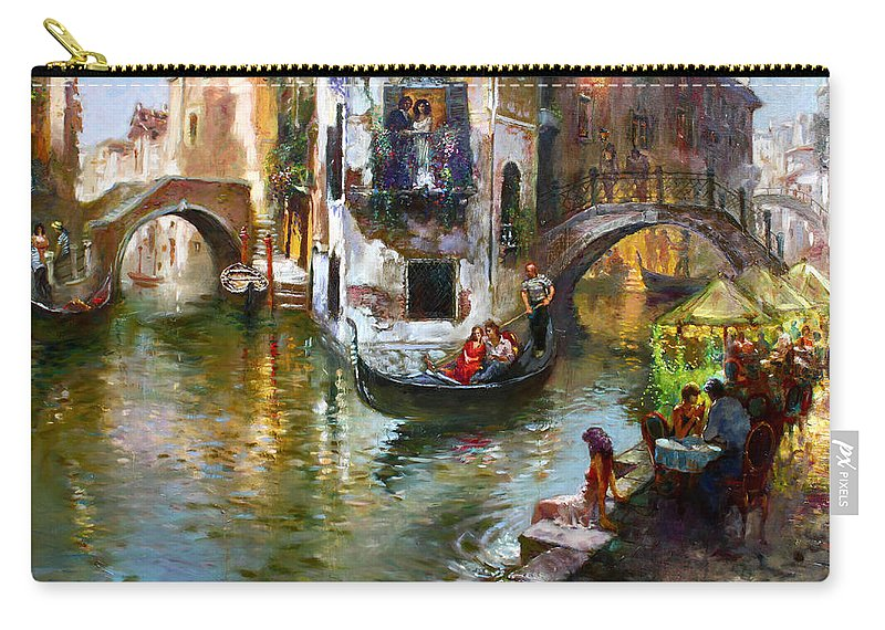 Romance In Venice Carry-all Pouch featuring the painting Romance In Venice by Ylli Haruni