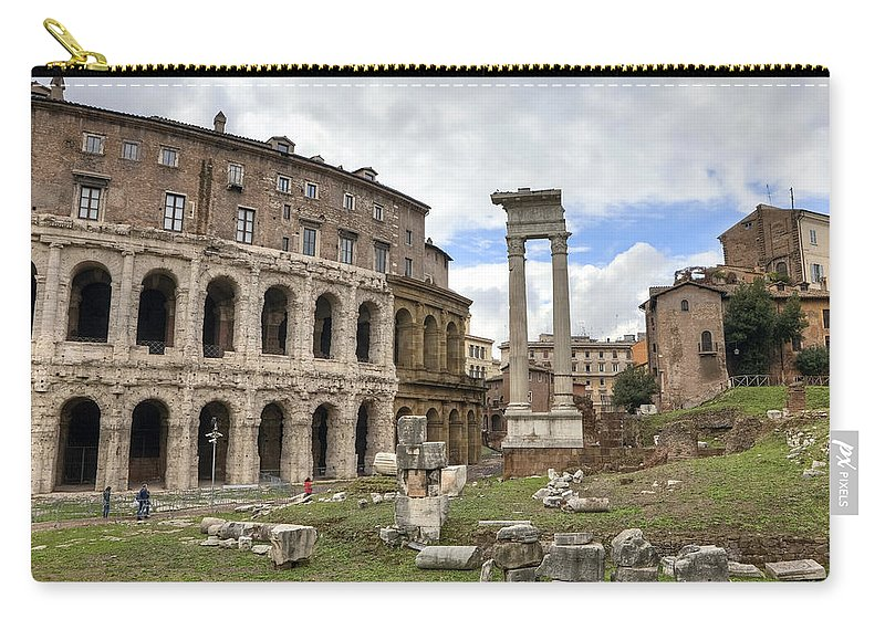 Teatro Di Marcello Carry-all Pouch featuring the photograph Rome - Theatre Of Marcellus by Joana Kruse