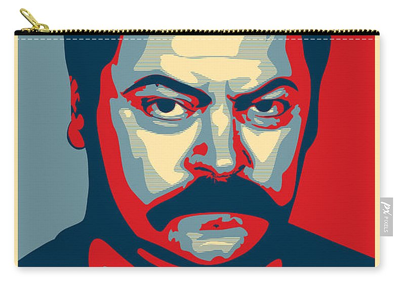 Ron Swanson Carry-all Pouch featuring the digital art Ron Swanson by Zapista Zapista