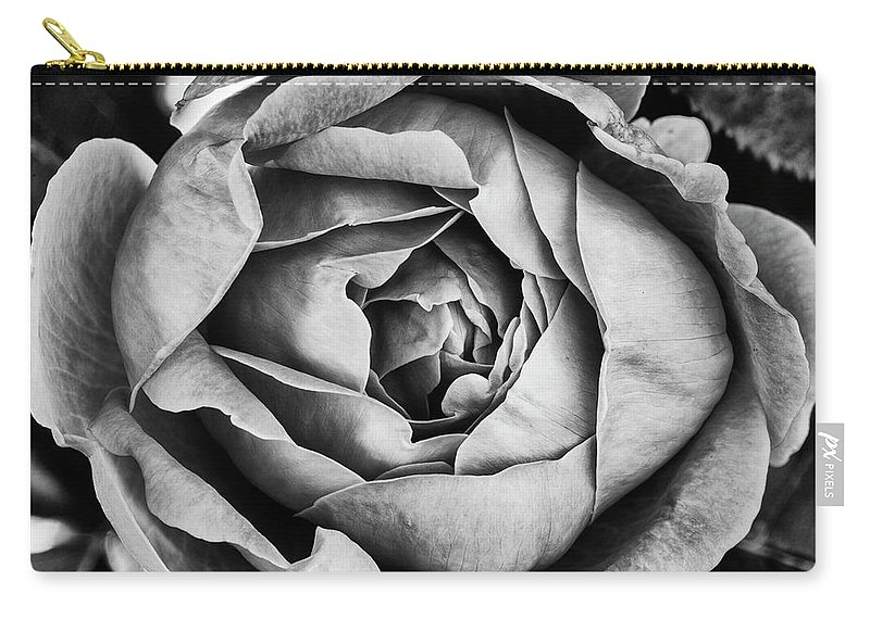 Rose Carry-all Pouch featuring the photograph Rose Closeup In Monochrome by Vishwanath Bhat