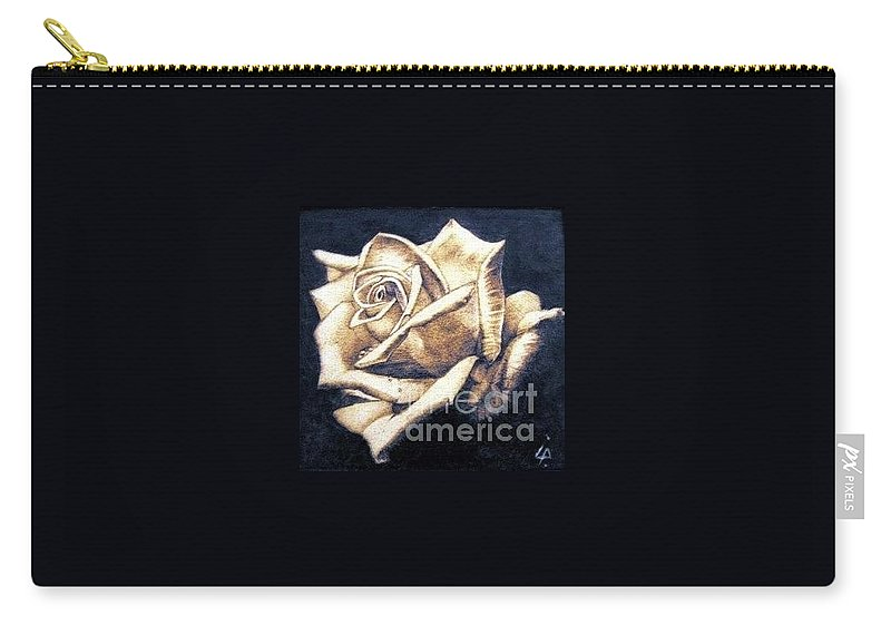 Rosa Carry-all Pouch featuring the pyrography Rose by Ilaria Andreucci