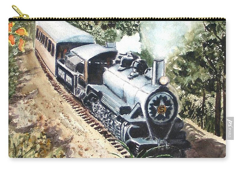Trains Carry-all Pouch featuring the painting Round The Bend by Karen Ilari