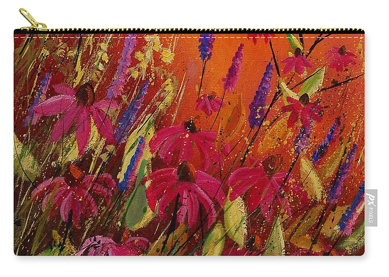 Flowers Carry-all Pouch featuring the painting Rudbeckias And Lyatris by Pol Ledent